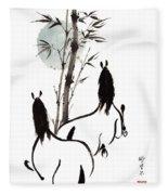Zen Horses Moon Reverence Fleece Blanket
