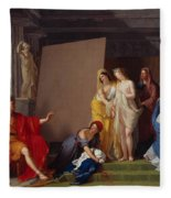 Zeuxis Choosing His Models For The Image Of Helen From Among The Girls Of Croton Fleece Blanket