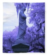 Ziba King Memorial Statue Side View Florida Usa Near Infrared Fleece Blanket