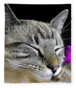Zing The Cat Sleeping Fleece Blanket