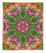 Zinging Zinnia Kaleidoscope Fleece Blanket