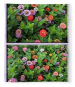Zinnias 4 Panel Vertical Composite Fleece Blanket