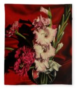 Zinnias And Gladiolas Fleece Blanket