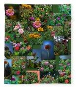 Zinnias Collage Square Fleece Blanket