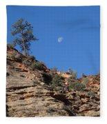 Zion National Park Moonrise Fleece Blanket