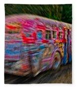 Zooming Graffiti Bus Fleece Blanket