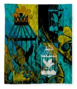 3 Caged Birds Grunge Fleece Blanket
