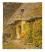 A Child At The Doorway Of A Thatched Cottage  Fleece Blanket