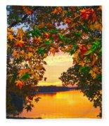 Autumn Leaves A View Fleece Blanket