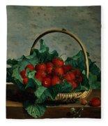 Basket Of Strawberries Fleece Blanket