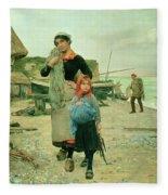 Fisherfolk Returning With Their Nets Fleece Blanket