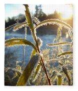 Frost On Willow At Sunrise Fleece Blanket