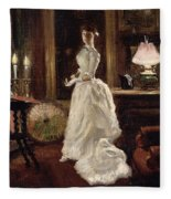 Interior Scene With A Lady In A White Evening Dress  Fleece Blanket