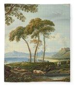 Landscape With Harlech Castle Fleece Blanket