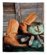 Old Cowboy Boots Fleece Blanket