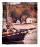 Old Ship Docked On The River Fleece Blanket