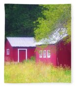 Peaceful Country Barn And Meadow Fleece Blanket