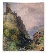 The Castle Of Katz On The Rhine Fleece Blanket
