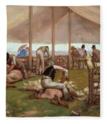 The Sheep Shearing Match Fleece Blanket
