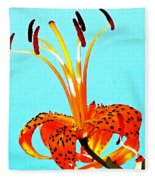 Turquoise And Tiger Lily Fleece Blanket