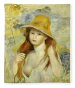 Young Girl With A Straw Hat Fleece Blanket