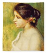 Young Woman With Flowers At Her Ear Fleece Blanket