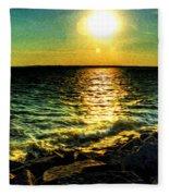 0001 Windy Waves Sunset Rays Fleece Blanket