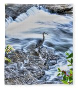 0005 Blue Heron At Glen Falls Williamsville Ny Fleece Blanket
