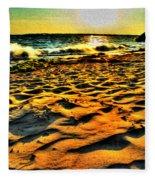 0008 Windy Waves Sunset Rays Fleece Blanket