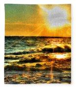 0009 Windy Waves Sunset Rays Fleece Blanket