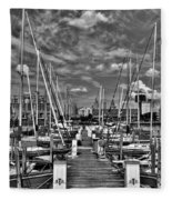 005bw On A Summers Day  Erie Basin Marina Summer Series Fleece Blanket