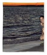 009 A Sunset With Eyes That Smile Soothing Sounds Of Waves For Miles Portrait Series Fleece Blanket