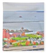 013 Series Of Buffalo Ny Via Birds Eye Erie Basin Marina Fleece Blanket