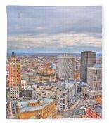 037 Series Of Buffalo Ny Via Birds Eye Downtown Buffalo Fleece Blanket