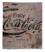 Coca Cola Sign Grungy Retro Style Fleece Blanket