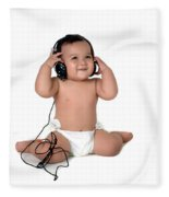A Chubby Little Girl Listen To Music With Headphones  Fleece Blanket