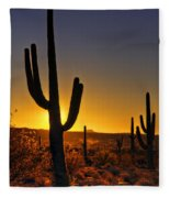 A Saguaro Sunrise  Fleece Blanket