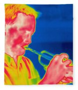 A Thermogram Of A Musician Playing Fleece Blanket
