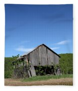 Abandoned Old Farm Building With Blue Sky Fleece Blanket
