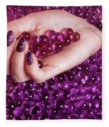 Abstract Woman Hand With Purple Nail Polish Fleece Blanket