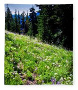 Alpine Meadow Vii At Mount Rainier Fleece Blanket