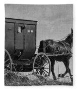 Amish Buggy Black And White Fleece Blanket