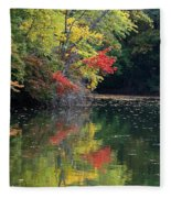 Autumn Tree Reflections Fleece Blanket