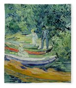 Bank Of The Oise At Auvers Fleece Blanket