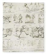 Baseball Cartoons, 1859 Fleece Blanket