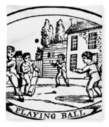 Baseball Game, 1820 Fleece Blanket