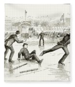 Baseball On Ice, 1884 Fleece Blanket