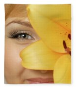 Beautiful Young Woman With A Yellow Lily Fleece Blanket