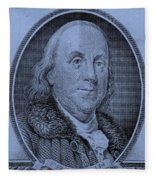 Ben Franklin In Cyan Fleece Blanket