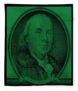 Ben Franklin In Dark Green Fleece Blanket